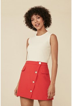 Red Pocket Button Front Mini Skirt