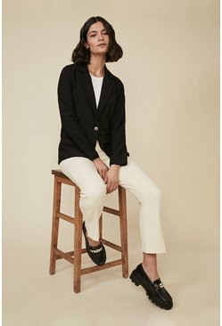 Black Tailored Linen Look Jacket