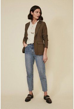 Khaki Tailored Linen Look Jacket
