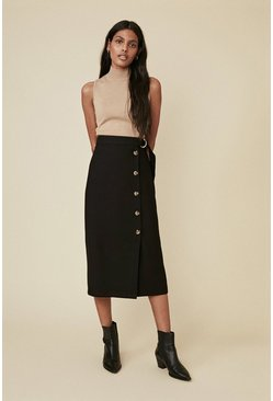 Black Button Front Belted Skirt
