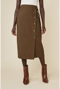 Khaki Button Front Belted Skirt