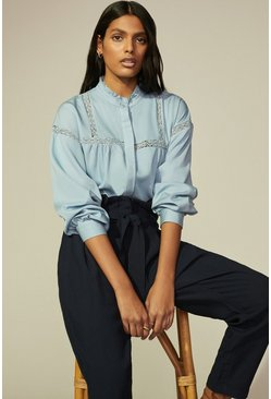Pale blue Lace Detail Shirt