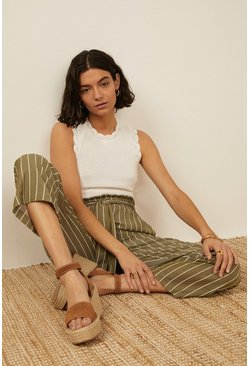 Khaki Belted Cropped Wide Leg Trouser