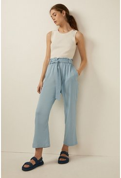 Pale blue Belted Cropped Wide Leg Trouser