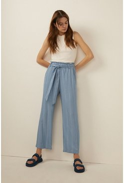 Stripe Belted Cropped Wide Leg Trouser