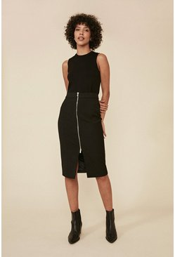 Black Zip Front Midi Skirt
