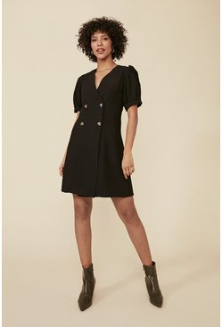 Black Tailored Button Puff Sleeve Dress