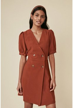 Camel Tailored Button Puff Sleeve Dress
