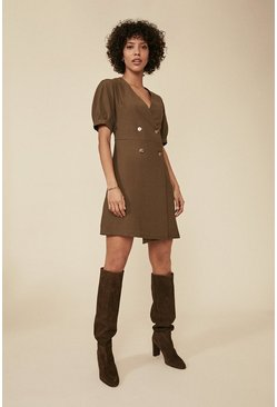 Khaki Tailored Button Puff Sleeve Dress
