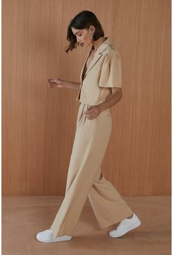 Stone Belted Wide Leg Trousers