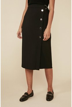 Black Premium Button Detail Asymmetric Skirt