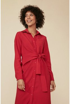 Red Tie Waist Button Front Midi Dress
