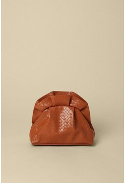 Light tan Weave Faux Leather Cross Body Bag