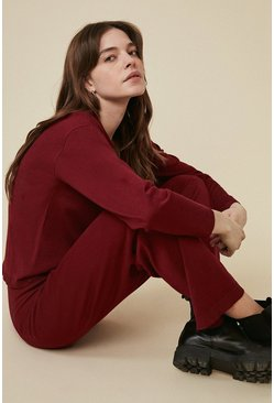 Berry Collared V Neck Knitted Loungewear Set
