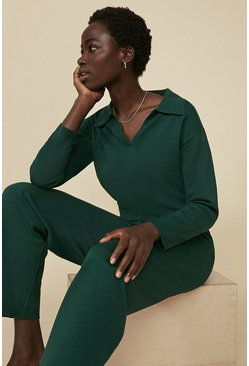Dark green Collared V Neck Knitted Loungewear Set