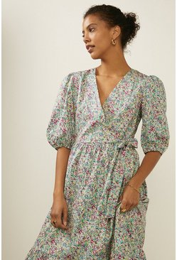 Multi Ditsy Print Wrap Midi Dress