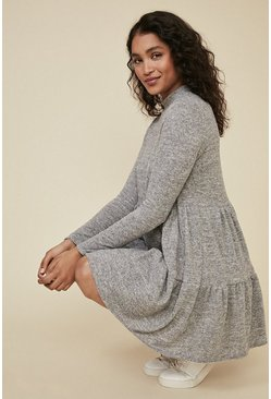Grey Cosy Smock Dress