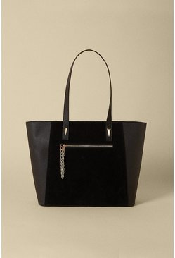 Black Zip Pocket Shopper Bag
