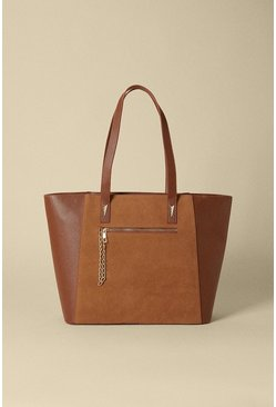 Tan Zip Pocket Shopper Bag