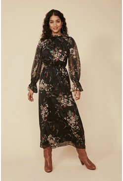 Black Floral Piecrust Midi Dress