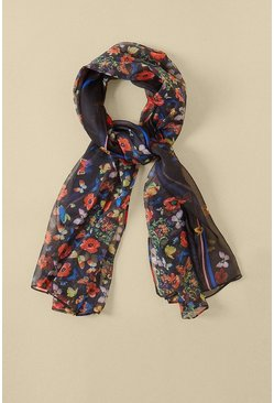 Multi Butterfly Floral Lightweight Scarf