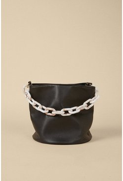 Black Chain Detail Cross Body Bucket Bag