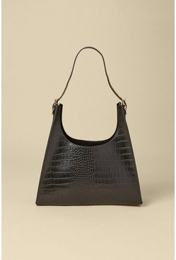 Black Croc Detail Scooped Tote Bag