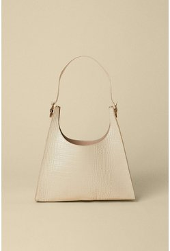 Mink Croc Detail Scooped Tote Bag