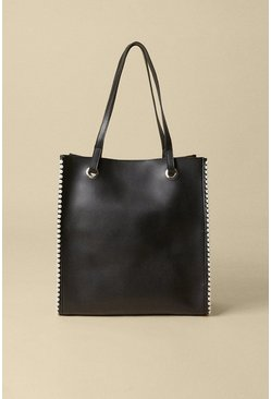 Black Pearl Trim Faux Leather Tote Bag