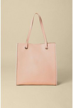 Nude Pearl Trim Faux Leather Tote Bag