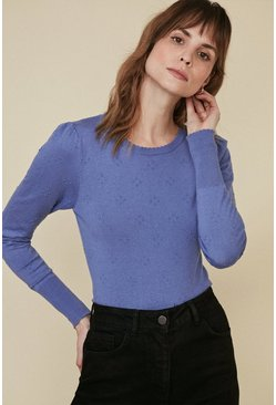 Blue Bobble Stitch Jumper