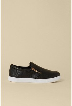 Black Slip On Zip Croc Trainers