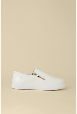 White Slip On Zip Croc Trainers