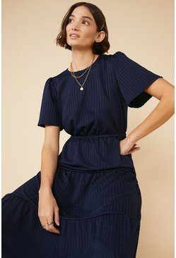 Navy Tiered Textured Midi Dress