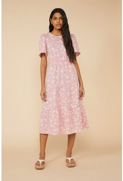 Pink Daisy Tiered Midi Dress