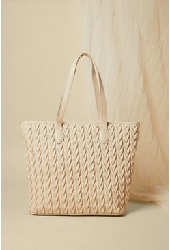 Cream Textured Shopper Bag