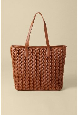 Tan Textured Shopper Bag