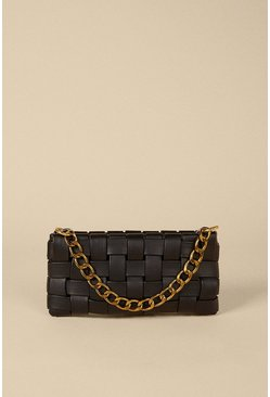 Black Woven Chain Detail Shoulder Bag
