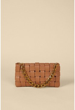 Tan Woven Chain Detail Shoulder Bag
