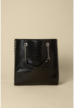 Black Croc Chain Strap Tote Bag