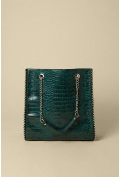 Bottle green Croc Chain Strap Tote Bag