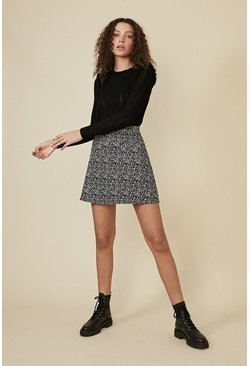 Black Belted Animal Mini Skirt