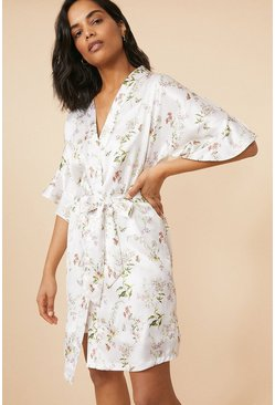 Frilled Floral Printed Satin Robe