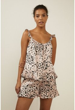 Cream Frilled Spot Printed Satin Top