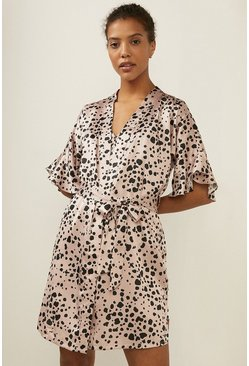 Cream Frilled Spot Printed Satin Robe
