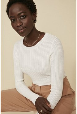 Ivory Cable Stitch Crew Jumper