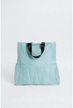 Light blue Quilted Nylon Tote Bag