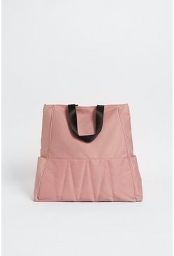 Pink Quilted Nylon Tote Bag