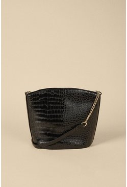 Black Croc Zipped Cross Body Bucket Bag