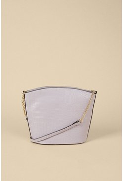 Lilac Croc Zipped Cross Body Bucket Bag